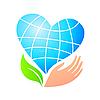 作为地球的程式化的心脏和手 | 向量插图