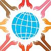 Frieden - Weltkugel und Hände
