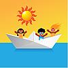 船快乐的孩子 | 向量插图