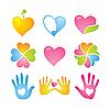 Set von Icons mit Herzen