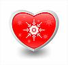 Rotes Herz mit Schneeflocken | Stock Vektrografik