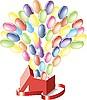 Luftballons fliegend aus einer Box