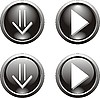Set von schwarzen Buttons mit Pfeilen