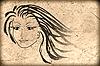 Cara de la mujer en el antiguo papel, fondo grunge | Foto de stock