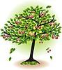 Fruto del árbol con las hojas y cerezas | Ilustración vectorial