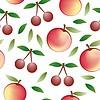 Manzana y cereza - Patrón inconsútil y natur abstracto | Ilustración vectorial