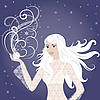 冬季美丽的金发女孩 | 向量插图