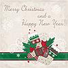 圣诞贺卡与礼品和丝袜 | 向量插图