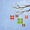 冬季背景与树的礼物 | 向量插图