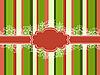 条纹和雪花的圣诞节框架 | 向量插图