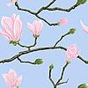 玉兰花的无缝模式 | 向量插图