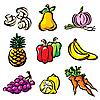 Фрукты и овощи | Векторный клипарт