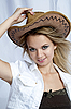 Beautiful smiling girl with cowboy hat | Stock Foto
