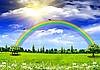 绿草如茵,彩虹和蓝天 | 免版税照片