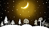 Winter-Landschaft in der Nacht | Stock Illustration