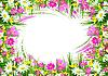 Rahmen von Frühlings-Blumen und Gras | Stock Illustration