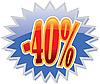 Rabatt-Etikett 40-Prozent