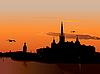 Silhouette von Stockholm bei Sonnenuntergang