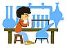 Мальчик в химической лаборатории | Векторный клипарт