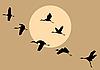 Sylwetki latające dźwigi na słońcu | Stock Vector Graphics