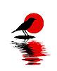 Silhouette des Vogels am Stein im Wasser