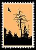 Silhouette fliegenden Vögel auf Briefmarken