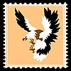 Silhouette des gefräßigen Vogels auf einer Briefmarke
