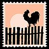 Silhouette des Hahnes auf Briefmarken