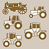 Silhouetten von Traktoren