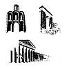 Silhouette der alten Zeit Gebäuden