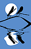 Silhouette zwei Libellen auf Kraut