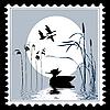 Vogel Silhouette auf Briefmarken