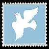 weiße Taube auf blauem Briefmarken.
