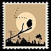 Silhouette der Vögel auf Briefmarken