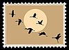 Silhouette fliegenden Kranichen auf Briefmarken