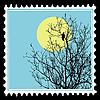 Silhouette Raben am Baum auf Briefmarken