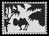 Silhouette Kamel auf Briefmarke,