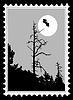 Silhouette auf Briefmarke Fledermaus,