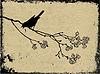 Гран-фон с птицей | Векторный клипарт