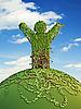 Symboliczne człowiek drzewo na naszej planecie | Stock Illustration