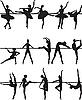 芭蕾舞演员`S剪影 | 向量插图