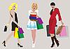 Dziewczyny z torby na zakupy | Stock Vector Graphics