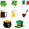 Vektor Cliparts: Symbole des Feiertags von St. Patrick