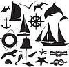 Zestaw sylwetki symbolizujących wypoczynek morskiego | Stock Vector Graphics