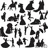 Silhouetten der Hochzeitspaare in verschiedenen Situationen