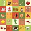 Фон из разноцветных квадратиков с пищевым ингредиентам | Векторный клипарт