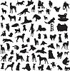 große Sammlung von verschiedenen Silhouetten von Hunden