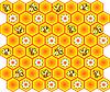 Фон с пчелами и сотами | Векторный клипарт
