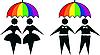 Schwulen und Lesben unter Regenbogenregenschirm
