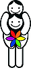 Homosexuelles Paar mit Regenbogen-Blume
